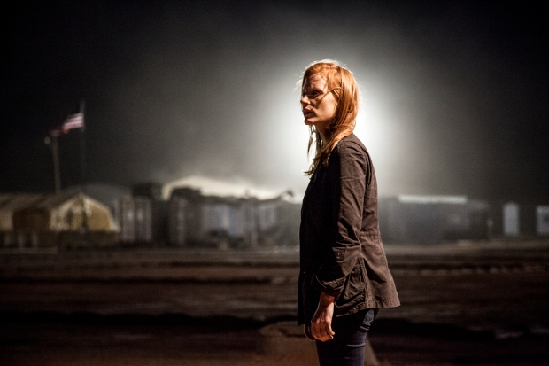 Stationed in a covert base overseas, Jessica Chastain plays a member of the elite team of spies and military operatives who secretly devoted themselves to finding Osama Bin Laden in Columbia Pictures' electrifying new thriller directed by Kathryn Bigelow, ZERO DARK THIRTY.